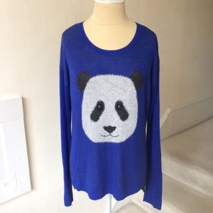 Kensie Two-Tone Long-Sleeve Panda Sweater EUC